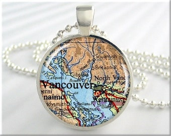 Vancouver Map Pendant, Resin Charm, Vancouver Canada, Map Necklace, Picture Jewelry, Gift Under 20, Map Charm, Round Silver 490RS