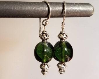 Green Glass Beaded Earrings Sterling Earrings
