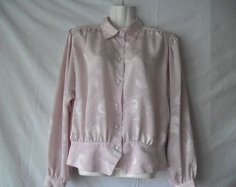 Women Vintage Soft Pink Romantic Flower Print Long Sleeves Buttons Front Blouse 80s,Women Elegant Picked Shoulders Vintage Blouse