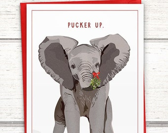 "Funny Christmas card with elephant. Elephant Christmas Cards: ""Pucker Up"". Elephant holiday card. Funny holiday cards."