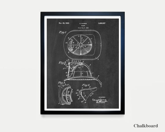 Fire Helmet - Fire Helmet Patent - Fire Truck Art - Fire Truck Poster - Boys Room Art - Boys Poster - Fire Truck Wall Art - Fireman - Ladder