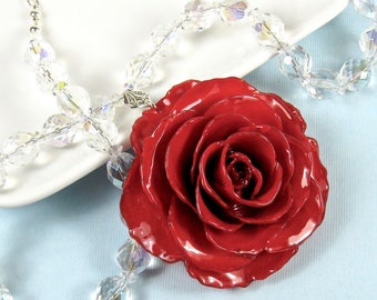 Large Real Rose, Crystal Necklace - Red, Flower Necklace, Real Flower Jewelry, Nature Jewelry, Crystal Necklace, Statement Necklace