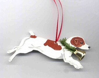 Hand-Painted JACK RUSSELL BROWN Wood Christmas Ornament Artist Original...Nicely Painted