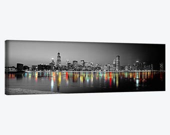 Chicago Skyline, Chicago Cityscape, Lake Michigan, Skyline at Night, Reflection, Chicago Panoramic Photo, Canvas Wall Art, Downtown Chicago