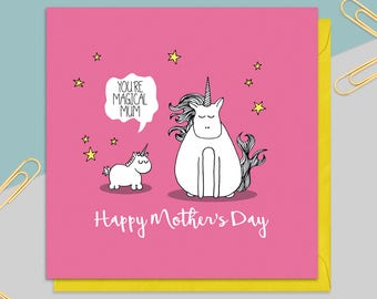 Unicorn Mother's Day Card - Mother's day Gift - Mum Card - Mom Card - Card for Her - Greetings Card