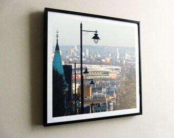North to South – a view from Highgate to Greenwich – flat print or framed options – posters also available – FREE UK postage