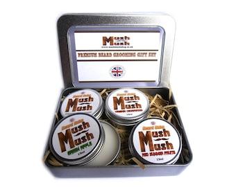 Beard Balm Gift Set Beard Grooming Kit. 4 Piece Beard Conditioning Balm Men's Beard Gift Birthday Christmas Present Mush Mush UK