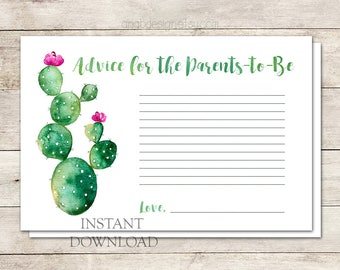 Parent Advice Cards, Advice for New Parents, Cactus Baby Shower, Fiesta Baby Shower, Watercolor Cactus, Shower Invite, Printable No. 1025