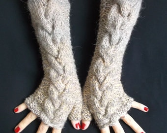 Knit Fingerless winter Gloves Wrist Warmers Light Brown Grey Cabled