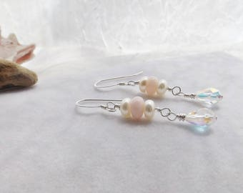 Peruvian Opal Dangle Earrings, Pearl Earrings, Crystal Earrings, Pink and White Beaded Earrings, Gift for Her, Wedding Jewelry, Mother's Day