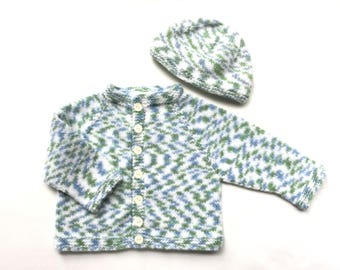 12 months Blue Green and White Sweater and Hat Set