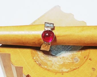 Sterling Silver and Ruby Ring, Ring Size 7, 8mm Ruby, Lab Created, Artisan Ring, Handmade in the USA