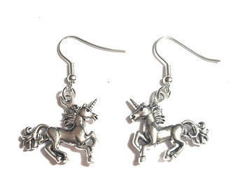 FizzyButton Gifts unicorn drop earrings with silver plated ear wires in gift box