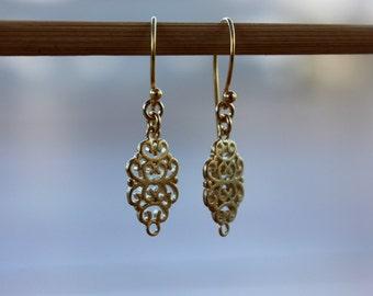 Gold dangle earrings, earrings for her, Arabesque golden dangle earrings, gold drop earrings