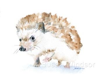 Hedgehog Watercolor Painting Giclee Print - 14 x 11 in - Nursery Art  - Fine Art