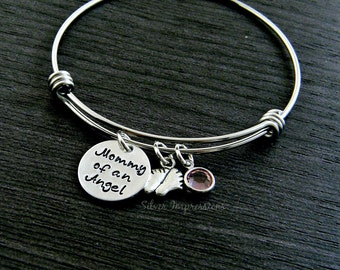 Mommy of an Angel Hand Stamped Wire Bangle Bracelet