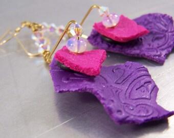 Purple and Fuscia Polymer Clay Shard Earrings