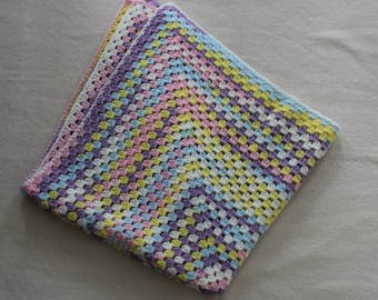 Crocheted Afghan for Baby, Granny Square Baby Afghan, Baby Shower Gift, Summer Afghan, Multicolor Afghan