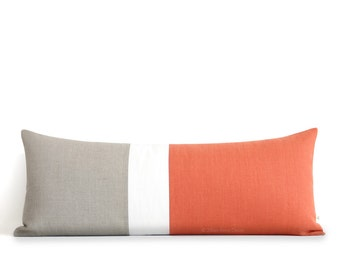 Orange Colorblock Pillow Cover, Bedding, 14x35 Lumbar Pillow, Decorative Pillows by JillianReneDecor, Extra Long Color Block