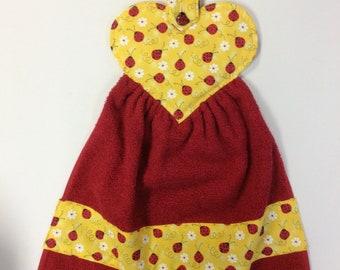 Ladybugs And Daisies/Hanging Oven/ Refrigerator Towel/Ladybug Button Handle