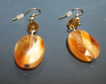 Unique Vintage Orange/Peach Translucent Earrings