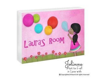 African American Girl personalized door sign custom door plaque kids door signs wooden plaque girls art custom name sign pink with girl name