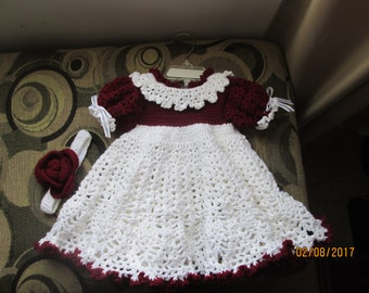 Baby dresses w headbands    size 3-6 mos