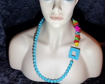 Beaded necklace, Statement necklace, turquoise necklace, gift for her, birthday gift, multicolor necklace, long beaded necklace