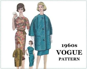 1960s Dress & Coat Sewing Pattern - Vogue Special Design 4194 - One Piece Dress, Coat, Scarf - Size 14 Bust 34 - UNCUT - Slim Skirt, Blouson