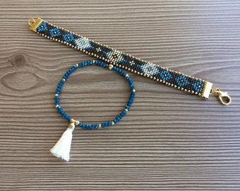 Tribal Cuff Bracelet, Ethnic Hippie Jewelry, Boho Tassel Bracelet, Beaded Gypsy Bracelet, Peyote Jewelry, Bohemian Women Gift, Birthday Gift