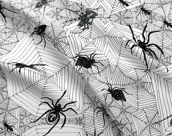 Creepy Crawly Spiders Fabric - Creepy Crawlies By Linsart - Creepy Crawly Spiders Arachnids Webs Cotton Fabric By The Yard With Spoonflower