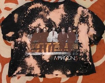 DIY Distressed Maroon 5 Crop Top - Small