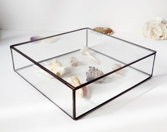 Large Glass Jewelry Box, Wedding Card Box, Gift For Her, Wedding Display Box, Clear Glass Jewelry Box.