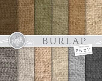 """BURLAP Digital Paper: NATURAL Burlap Patterns Print, Burlap Download, 8 1/2"""" x 11"""" Burlap Paper Pack Pattern Scrapbook Prints"""