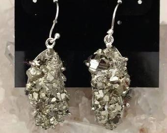Pyrite Healer's Gold Nugget Earrings
