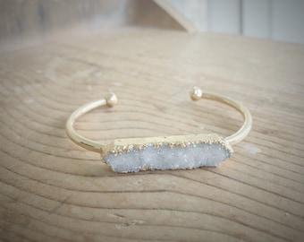 Druzy Cuff Bracelet, Druzy Bangle, Druzy Agate Bracelet, Druzy Jewelry, Crystal Bracelet, Geode Bracelet