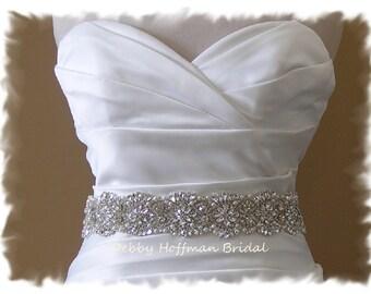Bridal  Belt, 33 inch Vintage Style Pearl Crystal Wedding Belt, Rhinestone Pearl Wedding Sash, Pearl Jeweled Bridal Sash Belt, No. 4069-33