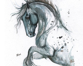 Set of five fine art greeting cards with  equine paintings