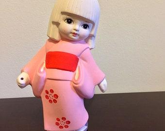 "Vintage ""Asahi"" Little Girl in Kimono - Bisque Porcelain - Made in Japan"