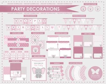 Printable Elephant Birthday Party Decorations, Party Printables, Instant Download, Elephant Party Decorations, 1st 2nd 3rd 4th 5th Birthday