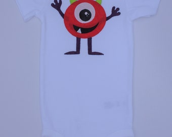 Applique Baby Onesie 12M Red Alien/Monster