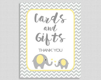 Cards and Gifts Sign, Yellow Elephant Baby Shower Gift Table Sign, Yellow & Grey Chevron Neutral, INSTANT PRINTABLE