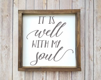 Scripture Sign, Scripture Wall Art, Scripture Wood Sign, Soul Sign, Psalm, It is Well, Framed Quote, Framed Scripture, It Is Well Sign
