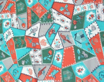 Vintage Faux Crazy Quilt Fabric with Birds, Flowers, Stitch Motif, Orange, Green, Turquoise Cotton Fabric, Sewing Fabric, Yardage, Craft