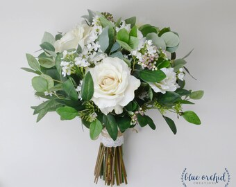 Green bridal bouquet etsy wedding flowers wedding bouquet eucalyptus bouquet silk bouquet bridal bouquet rustic mightylinksfo Images