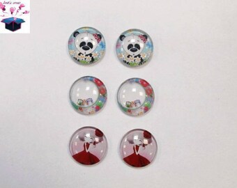 6 glass cabochons 18 mm as pictured lot number 71
