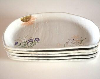 Plates, set of five ceramic dishes, Japanese tableware, Arita pottery