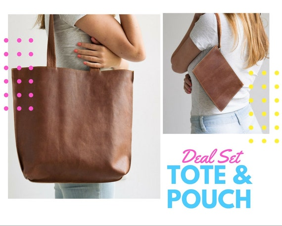 Deal Set   Leather Tote & Leather Wristlet Pouch/Personalized Tag/An Inside Pocket, Zipper Tote Bag, Personalized Bag, Tote With Pockets by Etsy