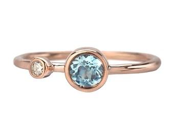 Aquamarine Ring, Engagement Ring, Diamond Ring, Aquamarine Engagement Ring, Mothers Ring, March Birthstone Ring, Rose Gold Ring, Ring, Nixin