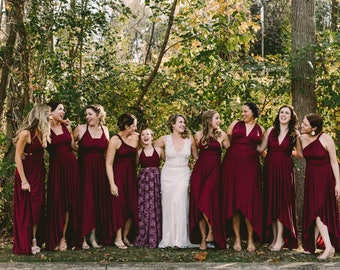 Tulip Cut - Restless Sea Burgundy Octopus Convertible Wrap Gown- Converts to Strapless, Backless, Grecian, etc